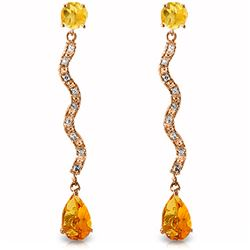ALARRI 14K Solid Rose Gold Earrings w/ Diamonds & Citrines