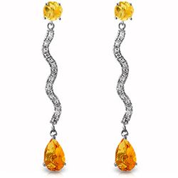 ALARRI 14K Solid White Gold Earrings w/ Diamonds & Citrines