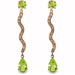 ALARRI 14K Solid Rose Gold Earrings w/ Diamonds & Peridots