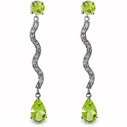 ALARRI 14K Solid White Gold Earrings w/ Diamonds & Peridots
