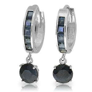 ALARRI 3.3 CTW 14K Solid White Gold Huggie Earrings Natural Sapphire