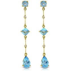 ALARRI 6.06 Carat 14K Solid Gold Chandelier Earrings Diamond Blue Topaz