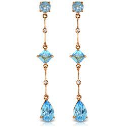 ALARRI 14K Solid Rose Gold Chandelier Earrings w/ Diamond & Blue Topaz
