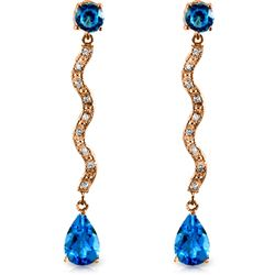 ALARRI 14K Solid Rose Gold Earrings w/ Diamonds & Blue Topaz