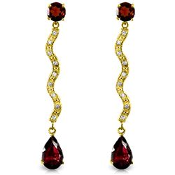 ALARRI 4.35 Carat 14K Solid Gold Earrings Natural Diamond Garnet