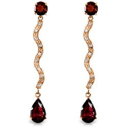 ALARRI 14K Solid Rose Gold Earrings w/ Natural Diamonds & Garnets