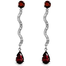 ALARRI 14K Solid White Gold Earrings w/ Natural Diamonds & Garnets