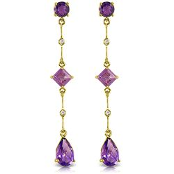 ALARRI 6.06 Carat 14K Solid Gold Chandelier Earrings Diamond Amethyst