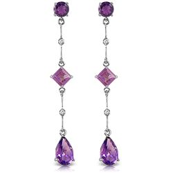 ALARRI 14K Solid White Gold Chandelier Earrings w/ Diamonds & Amethysts