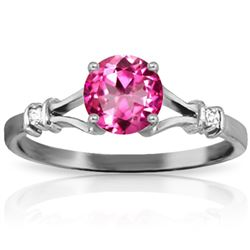 ALARRI 1.02 Carat 14K Solid White Gold Be Original Pink Topaz Diamond Ring