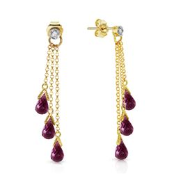 ALARRI 10.53 CTW 14K Solid Gold Chandelier Earrings Diamond Amethyst