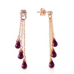 ALARRI 14K Solid Rose Gold Chandelier Earrings w/ Diamonds & Amethysts