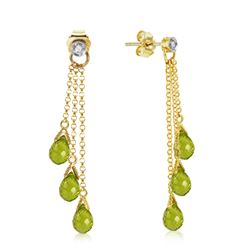 ALARRI 10.53 Carat 14K Solid Gold Chandelier Earrings Diamond Peridot