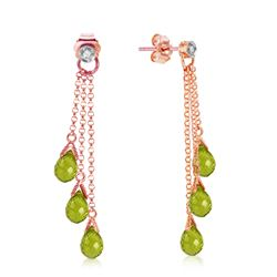 ALARRI 14K Solid Rose Gold Chandelier Earrings w/ Diamonds & Peridots