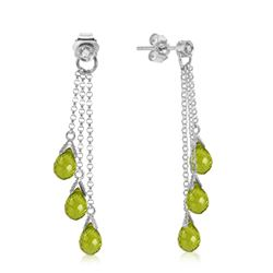 ALARRI 14K Solid White Gold Chandelier Earrings w/ Diamonds & Peridots