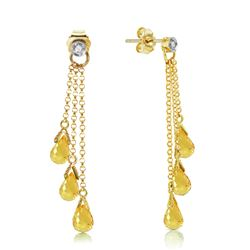 ALARRI 7.38 Carat 14K Solid Gold Chandelier Earrings Diamond Citrine