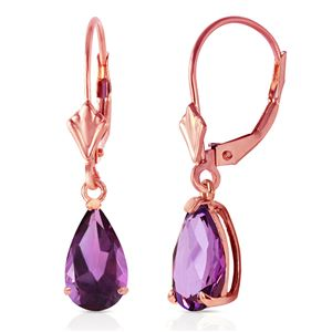ALARRI 2.5 Carat 14K Solid Rose Gold Leverback Earrings Amethyst