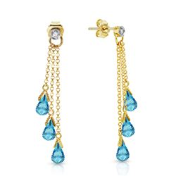 ALARRI 10.53 Carat 14K Solid Gold Chandelier Earrings Diamond Blue Topaz