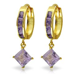 ALARRI 3.8 Carat 14K Solid Gold Hoop Earrings Dangling Amethysts