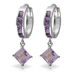 ALARRI 3.8 Carat 14K Solid White Gold Hoop Earrings Dangling Amethysts