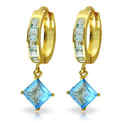 ALARRI 4.4 Carat 14K Solid Gold Hoop Earrings Dangling Blue Topaz