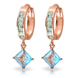 ALARRI 4.4 Carat 14K Solid Rose Gold Hoop Earrings Dangling Blue Topaz