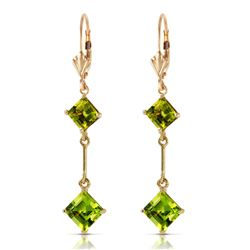 ALARRI 3.75 Carat 14K Solid Gold Leverback Earrings Peridot