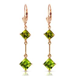 ALARRI 14K Solid Rose Gold Leverback Earrings w/ Peridots