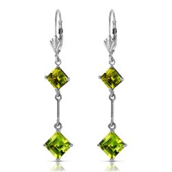 ALARRI 3.75 CTW 14K Solid White Gold Leverback Earrings Peridot