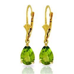 ALARRI 3 CTW 14K Solid Gold Green Grass Peridot Earrings