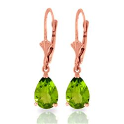 ALARRI 3 Carat 14K Solid Rose Gold Leverback Earrings Peridot