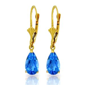 ALARRI 3.77 Carat 14K Solid Gold Extravaganza Blue Topaz Earrings
