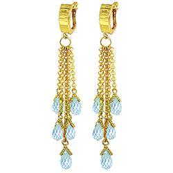 ALARRI 7.3 Carat 14K Solid Gold Playful Hoop Blue Topaz Earrings