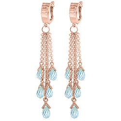ALARRI 7.3 Carat 14K Solid Rose Gold Chandelier Earrings Blue Topaz