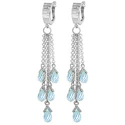 ALARRI 7.3 Carat 14K Solid Gold Not Casual As Rain Blue Topaz Earrings