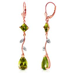 ALARRI 3.97 Carat 14K Solid Rose Gold Chandelier Earrings Diamond Peridot