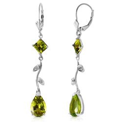 ALARRI 3.97 Carat 14K Solid White Gold Chandelier Earrings Diamond Peridot
