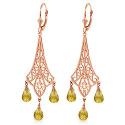 ALARRI 4.2 Carat 14K Solid Rose Gold Chandelier Earrings Briolette Citrine