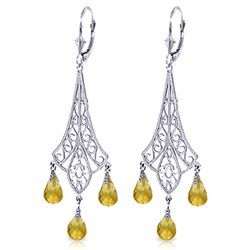 ALARRI 4.2 Carat 14K Solid White Gold Chandelier Earrings Briolette Citrine