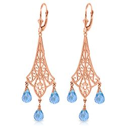 ALARRI 4.8 Carat 14K Solid Rose Gold Chandelier Earrings Briolette Blue Topaz