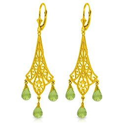 ALARRI 4.5 CTW 14K Solid Gold Chandelier Earrings Briolette Peridot
