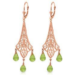 ALARRI 4.5 CTW 14K Solid Rose Gold Chandelier Earrings Briolette Peridot