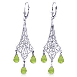 ALARRI 4.5 CTW 14K Solid White Gold Chandelier Earrings Briolette Peridot