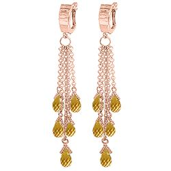 ALARRI 7.3 CTW 14K Solid Rose Gold Chandelier Earrings Citrine