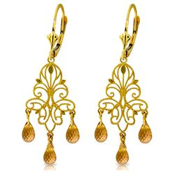 ALARRI 3.75 Carat 14K Solid Gold Chandelier Earrings Natural Citrine