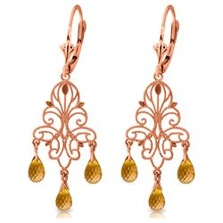 ALARRI 3.75 CTW 14K Solid Rose Gold Chandelier Earrings Natural Citrine