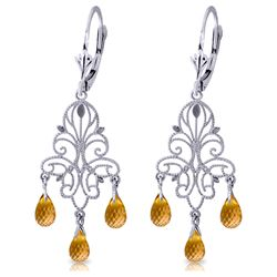ALARRI 3.75 Carat 14K Solid White Gold Chandelier Earrings Natural Citrine