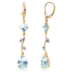 ALARRI 3.97 Carat 14K Solid Gold Chandelier Earrings Natural Diamond Aqua