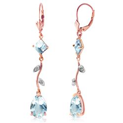 ALARRI 3.97 CTW 14K Solid Rose Gold Chandelier Earrings Natural Diamond Aqua