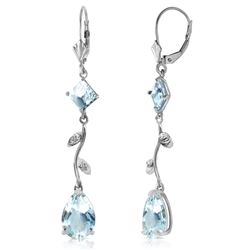 ALARRI 3.97 Carat 14K Solid White Gold Chandelier Earrings Natural Diamond Aquamar